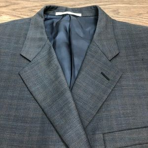 Hickey Freeman Blue & Gold Plaid Sport Coat 48L